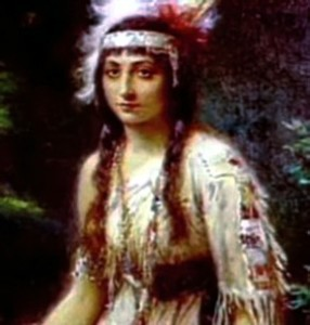 .Above is a rendition of Pocahontas, the daughter of Powhatan, Chief to the Algonquins. She later became Rebecca Rolfe.